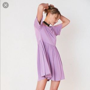 Silence + Noise cupro babydoll mini dress purple